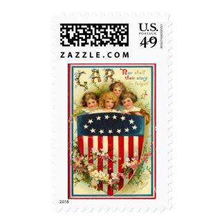 USA Girls Vintage Americana Postage Stamps