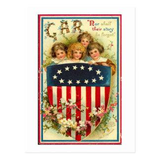 USA Girls Vintage Americana Postcard