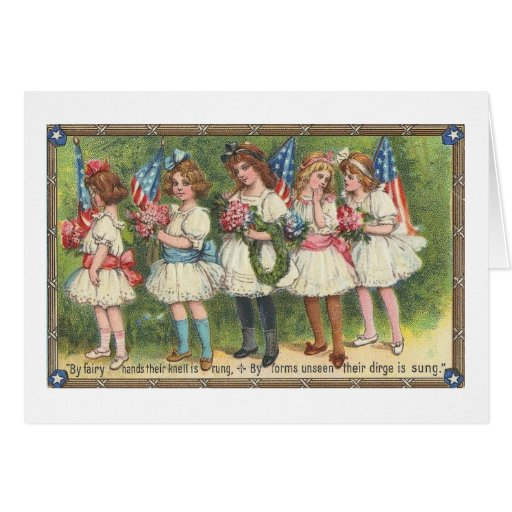 USA Girls with Flags Vintage Americana Greeting Card