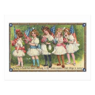 USA Girls with Flags Vintage Americana Postcard