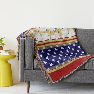 USA Themed USA Gold Eagle Stars Red Throw Blanket