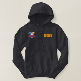 USA Gold Pocket Bald Eagle Liberty Or Death Embroidered Hooded Sweatshirt