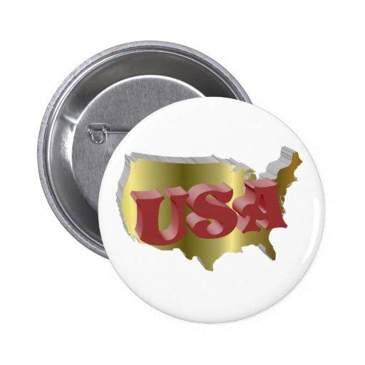 USA Gold-Rot 3D Anstecknadelbuttons