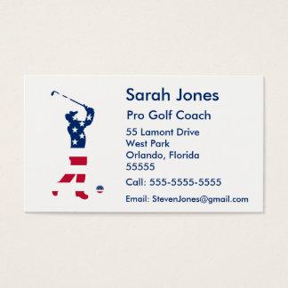 USA golf America flag golfer Business Card