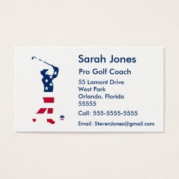 USA Themed USA golf America flag golfer Business Card