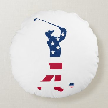 USA Themed USA golf America flag golfer Round Pillow