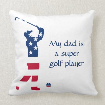 USA Themed USA golf America flag golfer Throw Pillow