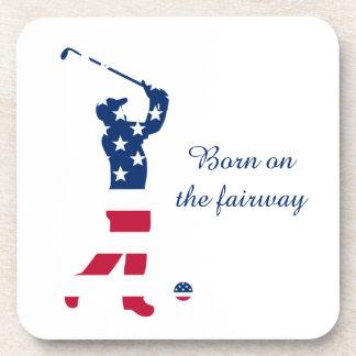 USA golf American flag golfer Drink Coaster
