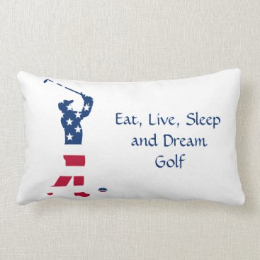 USA Themed USA golf American flag golfer Lumbar Pillow