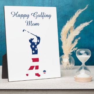 USA golf American flag golfer Plaque