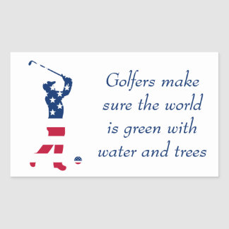 USA golf American flag golfer Rectangular Sticker