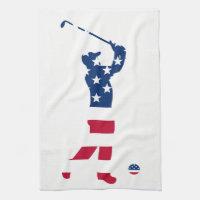 USA golf American flag golfer Towel