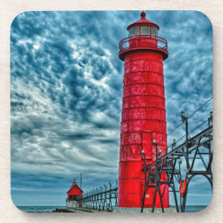 USA, Grand Haven, Michigan, lighthouse Beverage Coaster