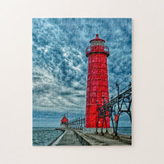 USA, Grand Haven, Michigan, lighthouse Jigsaw Puzzle