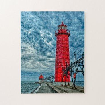 DanitaDelimont USA, Grand Haven, Michigan, lighthouse Jigsaw Puzzle
