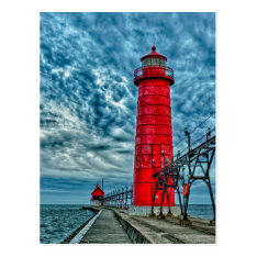 Usa, Grand Haven, Michigan, Lighthouse Postcard at Zazzle