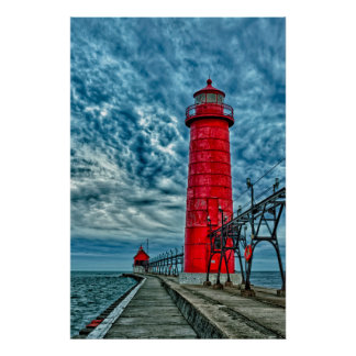 USA, Grand Haven, Michigan, lighthouse Poster