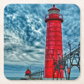 USA, Grand Haven, Michigan, lighthouse Square Paper Coaster