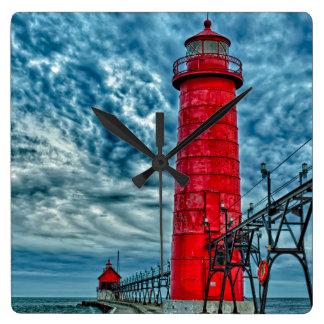 USA, Grand Haven, Michigan, lighthouse Square Wall Clock