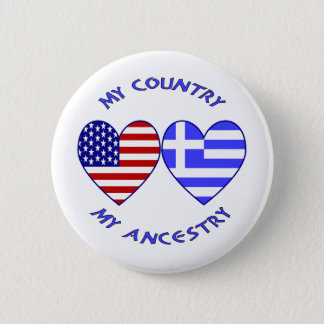 USA / Greek Country Ancestry Button