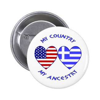 USA / Greek Country Ancestry 2 Inch Round Button