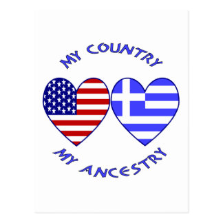 USA / Greek Country Ancestry Postcard