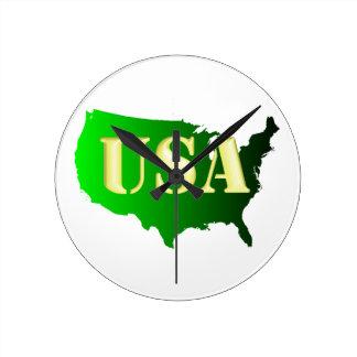 USA Grün-Gold Round Clock