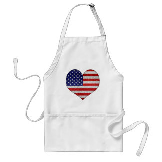 Usa Grunge Heart Shape Flag Adult Apron