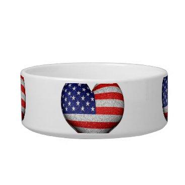 USA Themed Usa Grunge Heart Shaped Flag Pattern Bowl