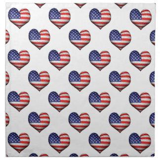 Usa Grunge Heart Shaped Flag Pattern Cloth Napkin