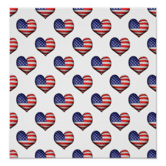 Usa Grunge Heart Shaped Flag Pattern Poster