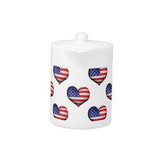 Usa Grunge Heart Shaped Flag Pattern Teapot