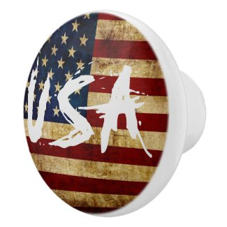 USA / Grunged Flag Ceramic Knob
