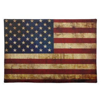 USA / Grunged Flag Cloth Placemat