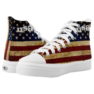USA / Grunged Flag... High-Top Sneakers