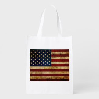 USA / Grunged Flag Reusable Grocery Bag