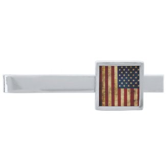 USA / Grunged Flag... Silver Finish Tie Clip