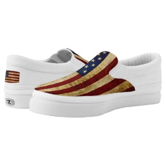 USA / Grunged Flag... Slip-On Sneakers