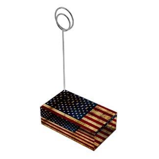 USA / Grunged Flag Table Card Holder