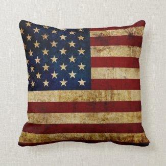 USA / Grunged Flag Throw Pillow