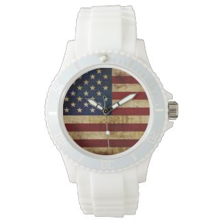 USA / Grunged Flag... Wristwatch
