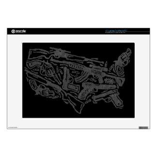 USA Gun Land Map - Grey on Black Decals For Laptops