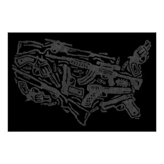 USA Gun Land Map - Grey on Black Print
