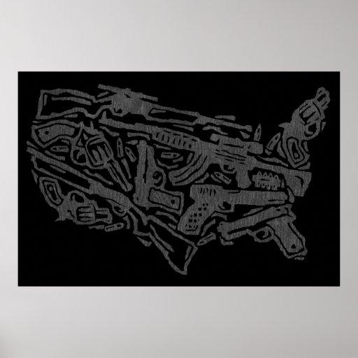 USA Gun Land Map - Grey on Black Poster