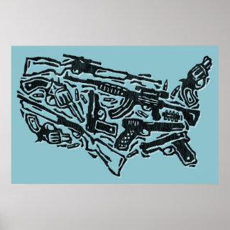 USA Gun Land Map Posters