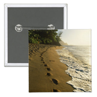 USA, Hawaii, Hanalei. Footprints in sand. 2 Inch Square Button