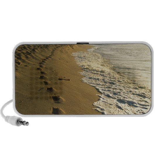 USA, Hawaii, Hanalei. Footprints in sand. Mini Speaker
