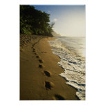 USA, Hawaii, Hanalei. Footprints in sand. Poster