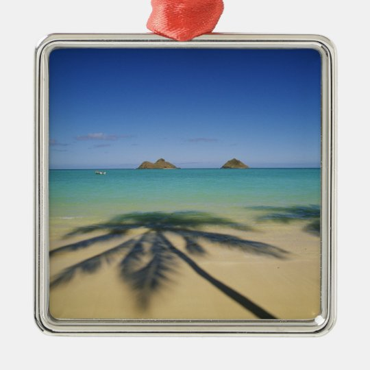 USA, Hawaii, Kailua. Lanikai Beach. Metal Ornament
