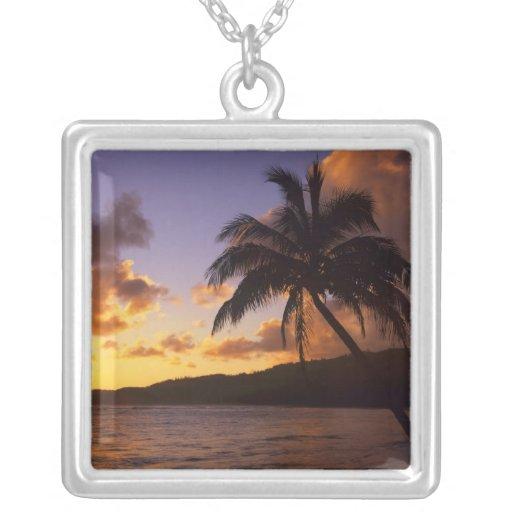 USA, Hawaii, Kauai, Colorful sunrise in a 2 Square Pendant Necklace